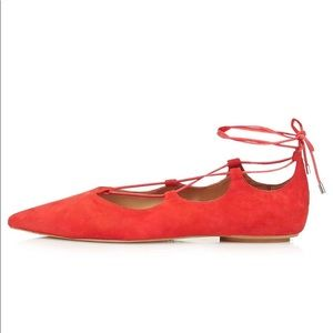 Topshop Genuine Suede Lace-up Pointed Toe Flats